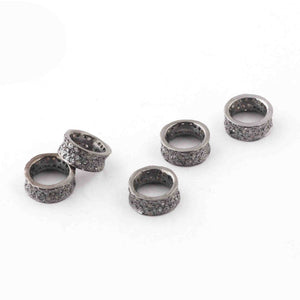 1 Pc Three Step Pave Diamond 925 Sterling Silver Rondelles Wheel Beads - Diamond Spacer Beads 11mm Pdc636 - Tucson Beads