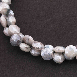1 Strand Grey Silverite Faceted Briolettes - Coin Shape Beads 9mmx8mm 15 Inches BR3923 - Tucson Beads