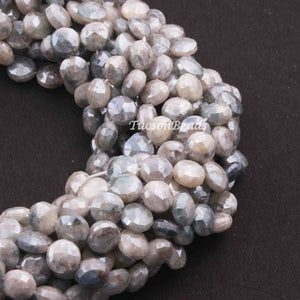 1 Strand Grey Silverite Faceted Briolettes - Coin Shape Beads 8mm 16 Inches BR3824 - Tucson Beads