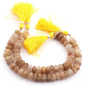 1 Long  Strand Golden Rutile  Roundelles  - Round Shape Roundelle Beads 8mm-11mm 8 Inches BR3833 - Tucson Beads