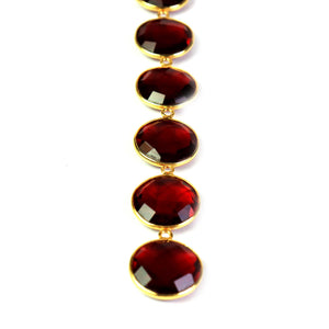 6 Pcs Beautiful Garnet 925 Sterling Vermeil Gemstone Faceted Round Shape Single Bail Pendant -18mmx15mm SS999 - Tucson Beads