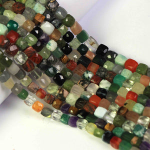 1 Strand Multi Stone Faceted Cube Briolettes -Box Shape Beads 6mm-8mm 8 inches BR1084 - Tucson Beads