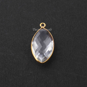 6 Pcs Crystal Quartz Faceted Marquise Shape 24k Gold Plated Pendant  , Crystal Quartz Pendant 29mmx13mm-22mmx11mm  PC658 - Tucson Beads