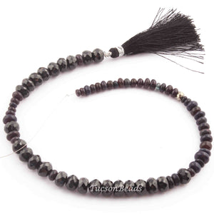 1 Long Strand Black Spinel and Ethopian Opal Faceted  Roundels - Rondelles Beads 8mmx4mm-4mmx2mm  12 Inches long BR2378 - Tucson Beads