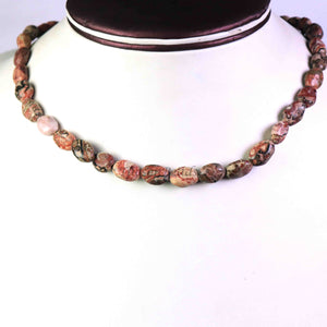 Jasper Stone Beaded Necklace - 11mmx8mm-15mmx11mm Oval Beads, 16 Inch, BR1247 - Tucson Beads