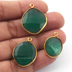 3  Pcs Green Onyx  24k Gold Plated Assorted Shape Pendant - Green Onyx  Pendant-26mmx16mm- PC475 - Tucson Beads