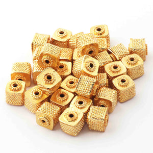 10 PCS Gold Plated Designer Copper Square Shape Beads, Copper Beads, Jewelry Making 9mm-  GPC1060