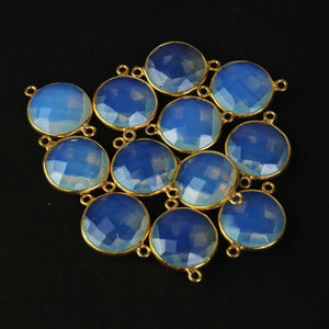 12 Pcs Beautiful Ice Quartz 925 Sterling Vermeil Gemstone Faceted Round Shape Double Bail Connector  -21mmx15mm SS997 - Tucson Beads