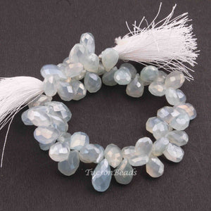 1 Strand Shaded Light Blue Silverite Faceted Briolettes - Pear Drop Beads - 7mmx11mm 7 Inches BR2332 - Tucson Beads