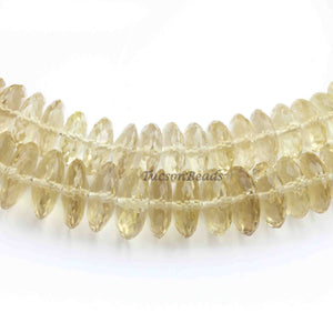 1 Long Strand Lemon Quartz German Cut Rondelles - Wheel Rondelle Beads 11mmx4mm 8 Inch BR2423 - Tucson Beads