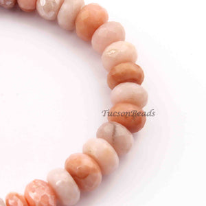 1  Long Strand Peach Moonstone Silver Coated Faceted Roundels -Round Shape Roundels 10mmx8mm-9  Inches BR2252 - Tucson Beads