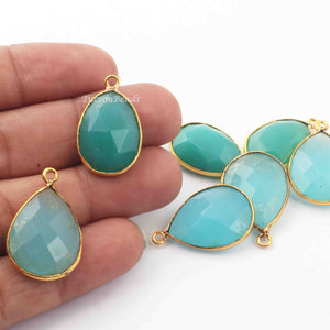 7  Pcs Mix Stone  24k Gold Plated Faceted Pear & Oval Shape Pendant - Mix Stone  Pendant-22mmx14mm- PC345 - Tucson Beads