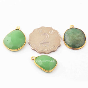 3  Pcs Mix Stone 24k Gold Plated Assorted Shape Pendant - Mix Stone  Pendant-26mmx19mm-22mmx16mm- PC404 - Tucson Beads