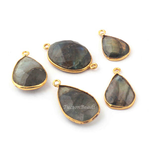 6 Pcs Labradorite Blue Flash 24k Gold Plated  Faceted Assorted Shape Gemstone Bezel Single & Double Bail Pendant & Connector- 27mmx16mm-19mmx12mm  PC101 - Tucson Beads