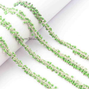 3 Feet Green Pearl Beads Dangling Chain, Sterling Silver Wire Wrapped Chain, Gemstone Rosary Chain, 2mm  BD809 - Tucson Beads