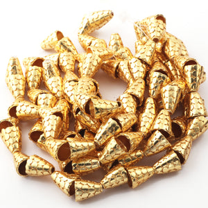 2 Strand 24k Gold Plated Designer Copper Casting Cone Beads - Jewelry - 13mmx11mm 8 Inches GPC1026 - Tucson Beads