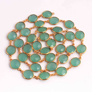 2 Feet Aqua Chalcedony Round  Connector Chain - 24k Gold Plated Connector  19mmx13mm PC389