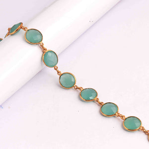 2 Feet Aqua Chalcedony Round  Connector Chain - 24k Gold Plated Connector  19mmx13mm PC389 - Tucson Beads