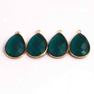 12  Pcs Emerald Hydro Faceted  Pear Shape 24k Gold Plated Pendant - 25mmx16mm  PC392 - Tucson Beads