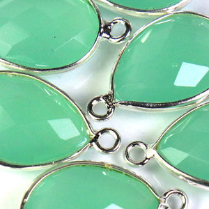 6 Pcs Beautiful Aqua Chalcedony 925 Sterling Silver Gemstone Faceted Pear Shape Double Bail Connector - 21mmx11mm SS383 - Tucson Beads