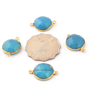 4  Pcs Blue Chalcedony 24k Gold Plated Faceted Round Shape Connector- Blue Chalcedony  Connector-22mmx15mm- PC247 - Tucson Beads