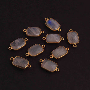 9  Pcs Rainbow Moonstone  Faceted  Rectangle Shape 24k Gold Plated  Connector  - 22mmx12mm  PC349 - Tucson Beads