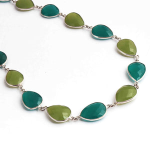 1 Necklace Green Chalcedony Pear Drop Connector Chain - 925 Silver Plated Connector Necklace 25mmx13mm PC388 - Tucson Beads