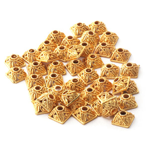 2 Strands Gold Plated Designer Copper Half Cap, Casting Copper Beads, Jewelry Making Supplies 4mm-8mm 7 inches Bulk Lot GPC1035 - Tucson Beads