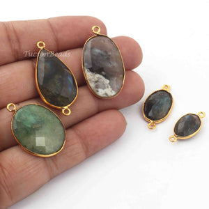 5   Pcs Mix Stone  Faceted Assorted Shape 24k Gold Plated Pendant & Connector  30mmx16mm-20mmx9mm-  PC377 - Tucson Beads