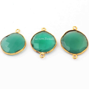 3 Pcs Green Onyx  24k Gold Plated  Faceted Round Shape Gemstone Bezel Double Bail Connector- 23mmx17mm-27mmx19mm  PC655 - Tucson Beads
