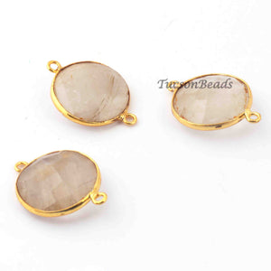 3 Pcs Golden Rutile  24k Gold Plated Faceted Round Shape Pendant -  26mmx18mm  PC650 - Tucson Beads
