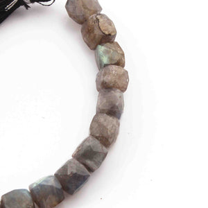 1 Strand Labradorite Faceted Cube Beads Briolettes -  Labradorite Box Shape Beads 9mmx8mm-6mmx7mm  7 Inches BR2276 - Tucson Beads