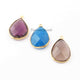 3   Pcs Mix Stone Faceted Pear Shape 24k Gold Plated Pendant&Connector- 26mmx17mm-27mmx18mm-PC680 - Tucson Beads