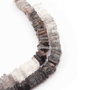 1 Long Strand Black Rutile  Heshi Smooth Briolettes  -Square Shape  Briolettes  6mm- 14 Inches BR2584 - Tucson Beads