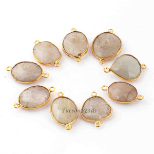 10 Pcs Golden Rutile  24k Gold Plated Faceted Assorted Shape Connector -  28mmx18mm-24mmx14mm  PC648 - Tucson Beads