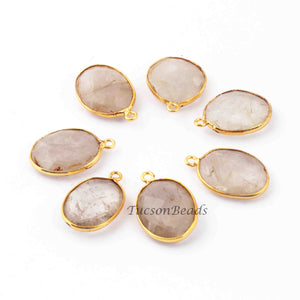 7 Pcs Golden Rutile  24k Gold Plated Faceted Oval Shape Pendant - Golden Rutile Pendant 22mmx14mm-20mmx16mm  PC649 - Tucson Beads