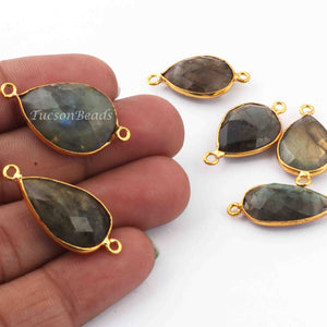 6 Pcs Labradorite Blue Flash 24k Gold Plated  Faceted Assorted Shape Gemstone Bezel Double Bail Connector- 24mmx13mm-28mmx12mm  PC654 - Tucson Beads