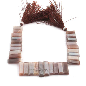 1 Strand Chocolate Moonstone Faceted Briolettes - Rectangle Briolettes 21mmx6mm-15mmx6mm- 8.5 Inches BR3556 - Tucson Beads
