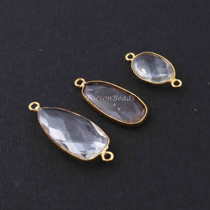 5 Pcs Crystal Quartz Faceted Assorted Shape 24k Gold Plated Pendant/Connector  ,  32mmx12mm-21mmx11mm  PC659 - Tucson Beads