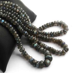 1 Long Strand Labradorite Smooth Roundels - Smooth Roundels Beads 5mm-10mm 18 Inches long BR687 - Tucson Beads