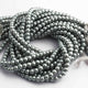 1 Strand  Gray Glass Pearl Smooth Round Ball Beads,Pearl Rondelles  -6mm 16 Inches BR626 - Tucson Beads