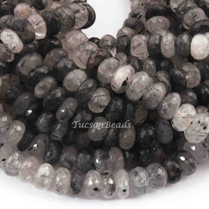 1 Long  Strand Black Rutile Faceted Rondelles-Round  Shape  Roundels 9mmx6mm-16 Inches BR3548 - Tucson Beads
