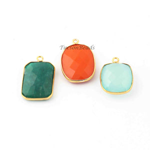 3  Pcs Mix Stone  24k Gold Plated Faceted Assorted Shape Pendant - Mix Stone  Pendant-25mmx16mm-21mmx15mm- PC364 - Tucson Beads