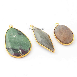 3 Pcs Mix Stone  24k Gold Plated Faceted Assorted Shape Pendant  - 27mmx23mm-25mmx16mm  PC193 - Tucson Beads