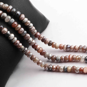 1 Long Strand Multi Moonstone  Silver coated Faceted  Roundels - Multi Moonstone Roundels Beads 6mm-7mm 13. Inches long BR605 - Tucson Beads