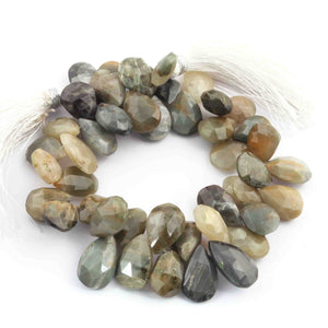 1  Strand Cats Eye Faceted  Briolettes -Pear Shape  Briolettes -8mmx13mm 8 Inches BR1394 - Tucson Beads