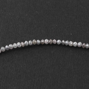 20 Ct 1 Long Strand Grey Diamond  Rondelles Genuine  Diamond Beads 14 Inch Long BRU080 - Tucson Beads
