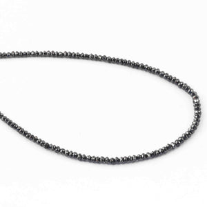 16.37 Ct 1 Long Strand Black Diamond  Rondelles Geniune Diamond Beads 14 Inch Long BRU072 - Tucson Beads