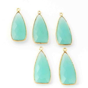 5 Pcs  Aqua Chalcedony Faceted Dagger Shape 24k Gold Plated Single Bail Pendant-31mmx13mm PC044 - Tucson Beads