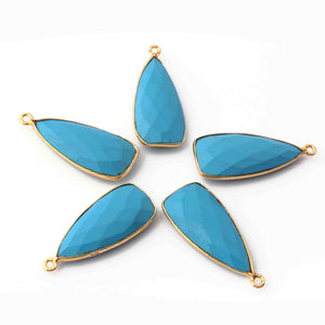 5 Pcs Turquoise Faceted Dagger Shape 24k Gold Plated Single Bail Pendant-31mmx13mm PC042 - Tucson Beads